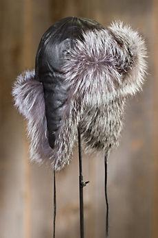 Goatskin Leather Aviator Hat with Fox Fur Trim