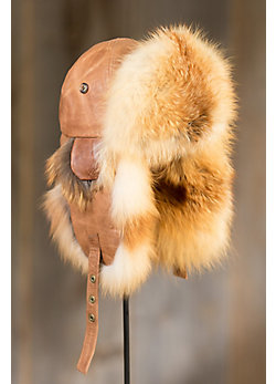 Lambskin Leather Trapper Hat with Red Fox Fur Trim