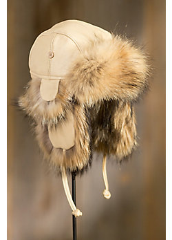 Elk Leather Aviator Hat with Raccoon Fur Trim