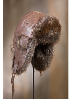 Beaver Fur Lined Long Lambskin Leather Aviator Hat