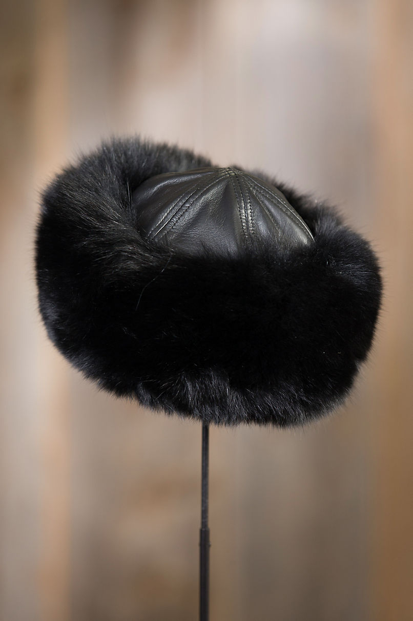 9b6d8216 Fox Fur Cossack Hat with Lambskin Leather Crown | Overland