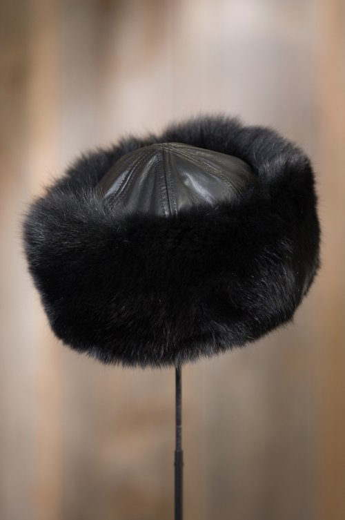 Fox Fur Cossack Hat with Lambskin Leather Crown