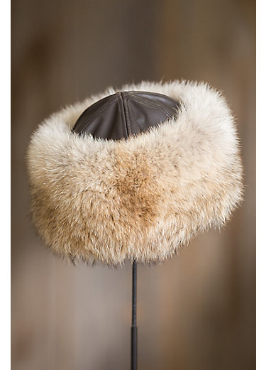 Coyote Fur Cossack Hat with Lambskin Leather Crown