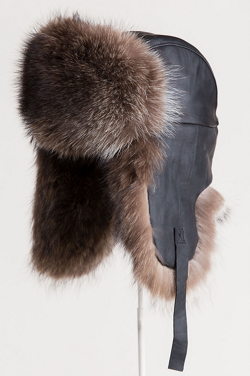 Canadian Lambskin Leather Trapper Hat with Raccoon Fur Trim