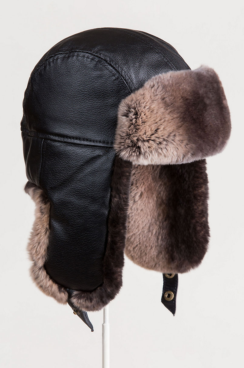 Lambskin Leather Trapper Hat with 2-Tone Rabbit Fur Trim