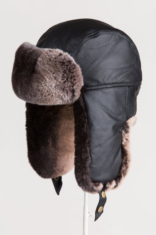 Lambskin Leather Trapper Hat with Two-Tone Rabbit Fur Trim