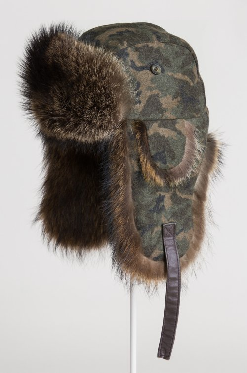 Melton Camo Trapper Hat with Raccoon Fur Trim