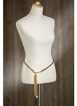 Chelsie Leather and Brass Belt