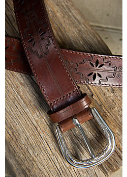 Acoma Etched Leather Belt