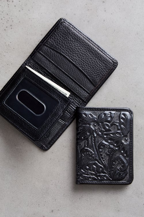 Las Flores Hand-Tooled Leather Billfold Wallet