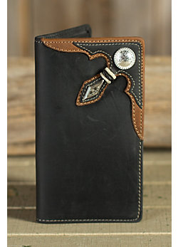 Stockyards Rawhide Leather Checkbook Wallet