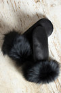 Women's Leather Mittens with Fox Fur Trim