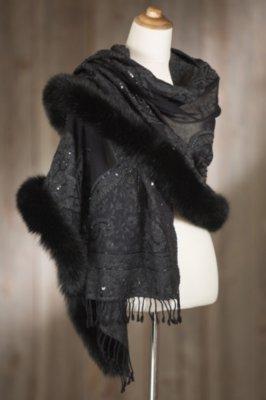 Iris Embroidered Wool Shawl with Fox Fur Trim