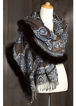 Iris Embroidered Wool Shawl with Fox Fur Trim