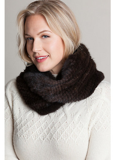 Knitted Mink Fur Infinity Scarf