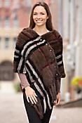 Plaid Knitted Mink Fur Shawl