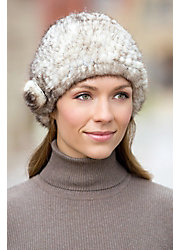 Knitted Mink Fur Beanie Hat with Fur Flower