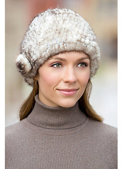 Knitted Mink Fur Hat with Fur Flower