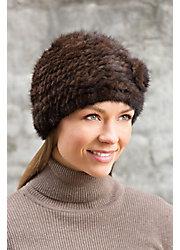 Knitted Mink Fur Beanie Hat with Fur Flower