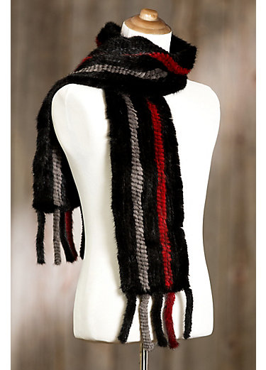 Stripes Knitted Danish Mink Fur Scarf