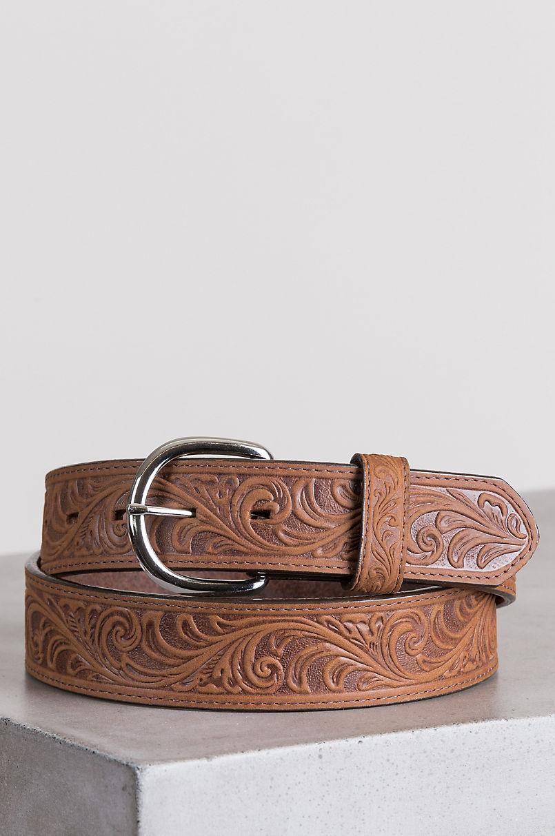 Western Scroll Leather Belt