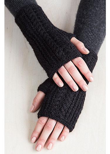 Women's Fingerless Cable Knit Superfine Peruvian Alpaca Gloves