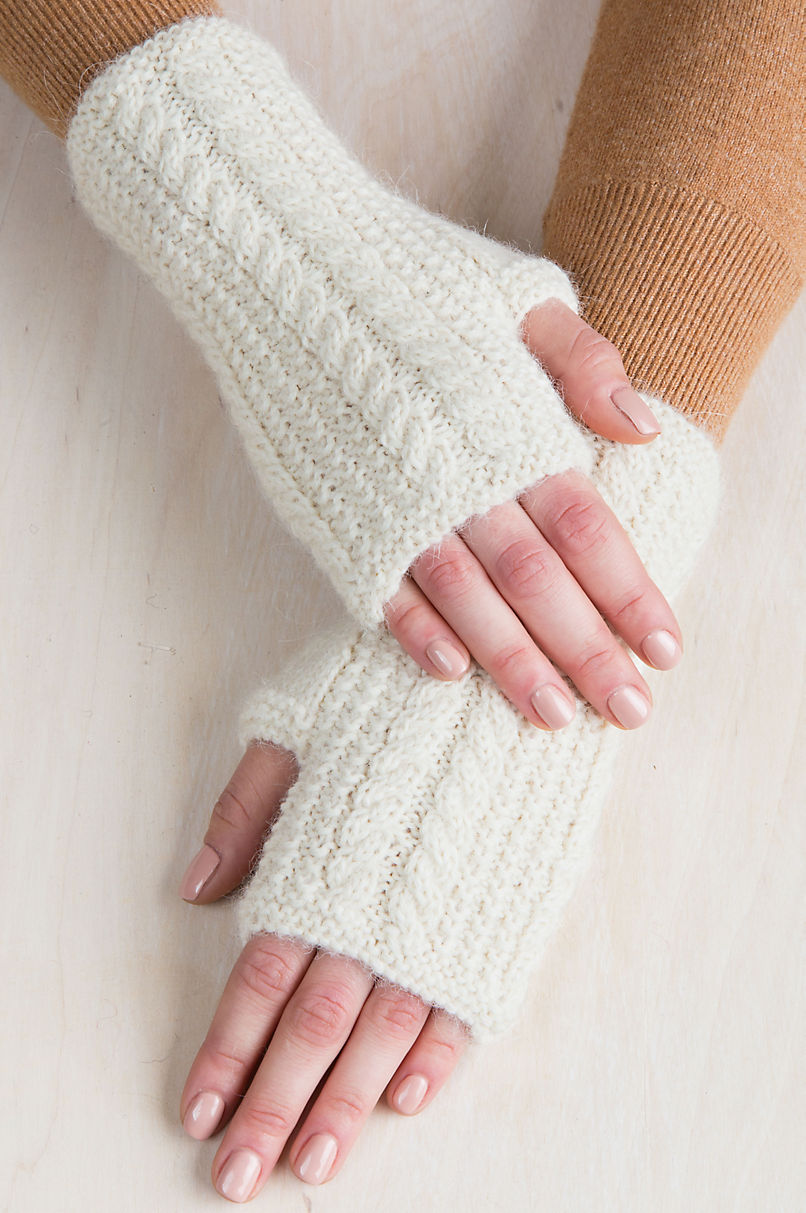 Women's Cable Knit Peruvian Alpaca Fingerless Gloves
