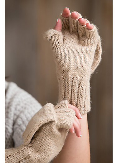 Women's Cable Knit Superfine Peruvian Alpaca Fingerless Gloves with Mitten Flap