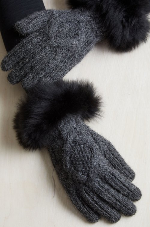 Women's Peruvian Alpaca Wool Gloves with Alpaca Fur Trim
