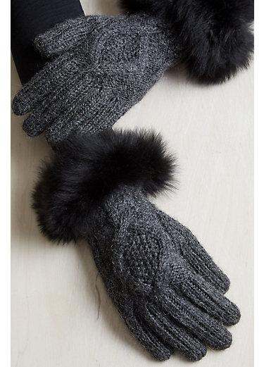 Women's Diamond Cable Peruvian Alpaca Gloves with Baby Alpaca Fur Trim