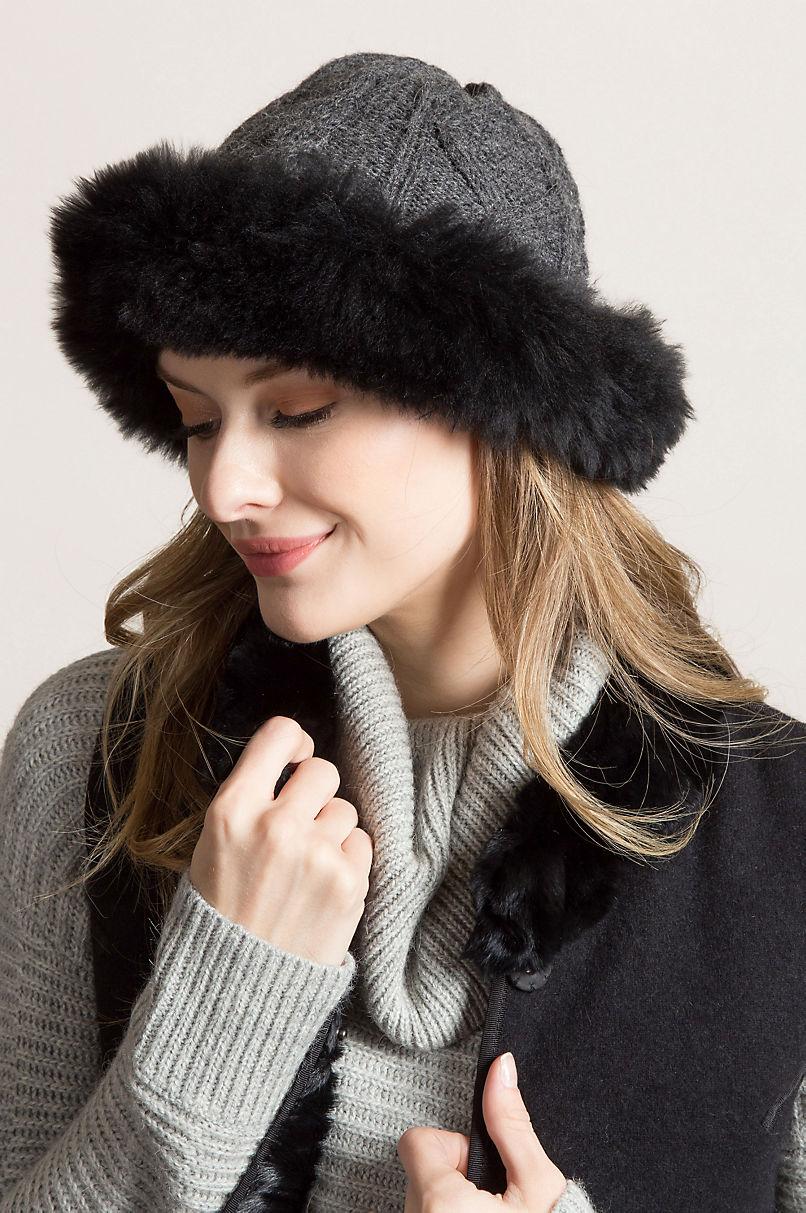 66449d5cf06b6d Women's Peruvian Alpaca Wool Cloche Hat with Alpaca Fur Trim | Overland
