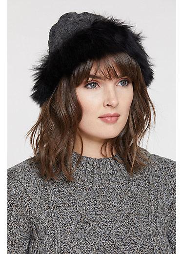 Women's Peruvian Alpaca Wool Hat with Alpaca Fur Trim