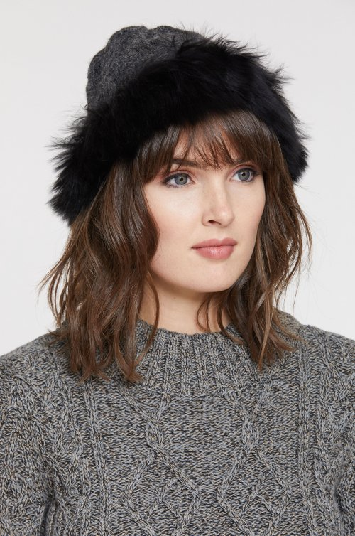 Women's Peruvian Alpaca Wool Cloche Hat with Alpaca Fur Trim
