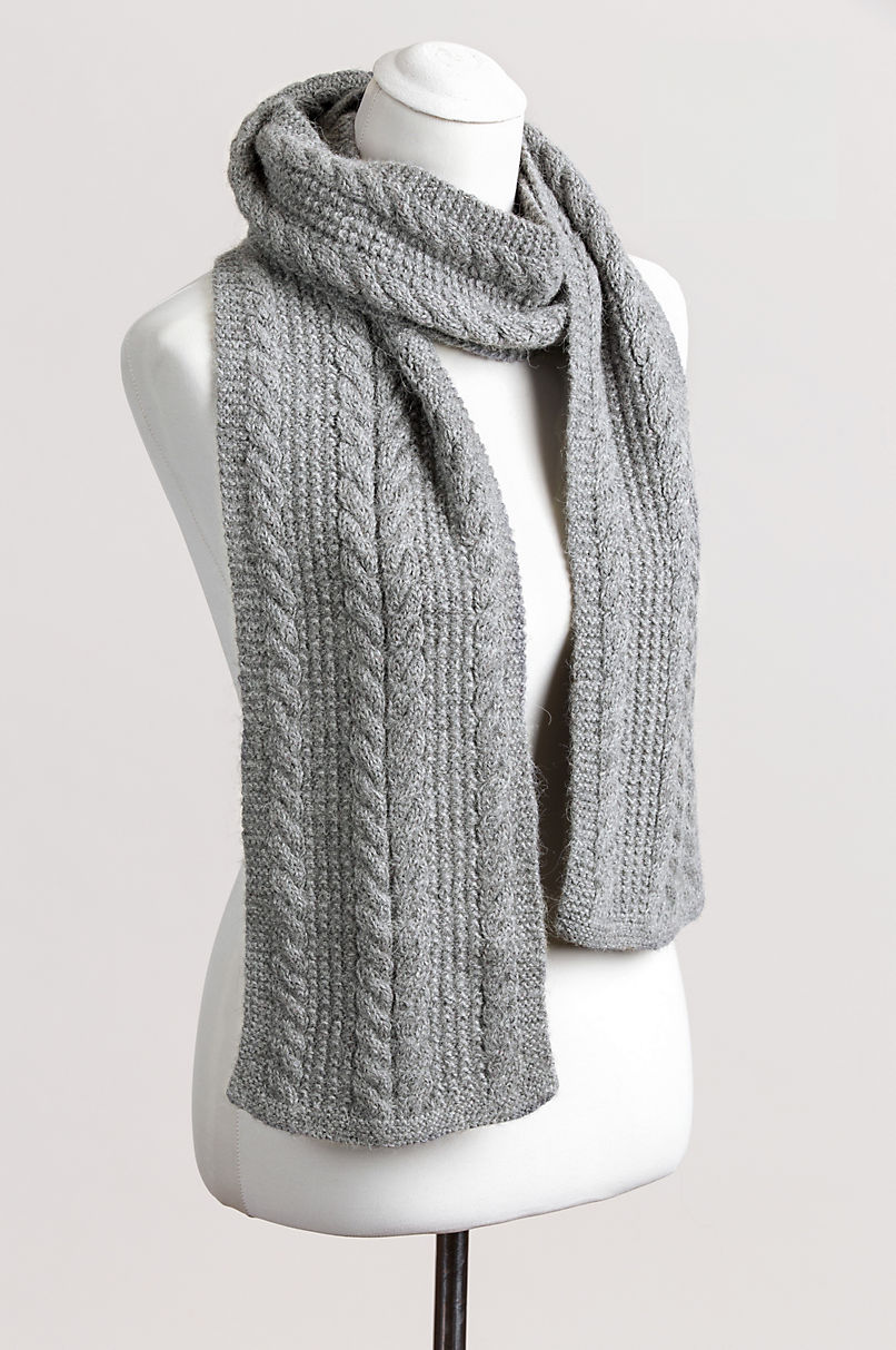 Classic Cable Knit Alpaca Wool Scarf