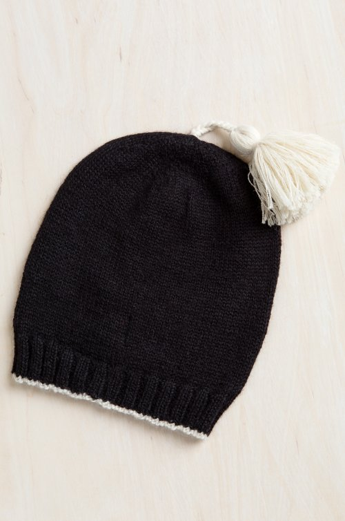Two-Tone Knitted Alpaca Wool Beanie Hat with Tassel