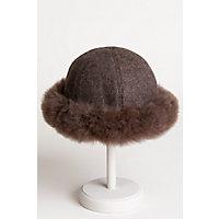 Women's Vintage Hats | Old Fashioned Hats | Retro Hats Womens Royal Alpaca Wool Cloche Hat with Alpaca Fur Trim $99.00 AT vintagedancer.com