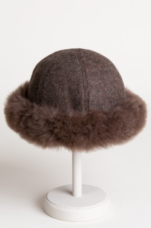 Women's Royal Alpaca Wool Cloche Hat with Alpaca Fur Trim
