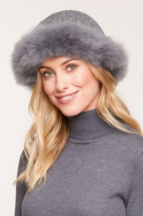 Women's Royal Alpaca Wool Cloche Hat with Alpaca Fur Trim