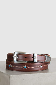 Cody Turquoise Tapered Leather Belt