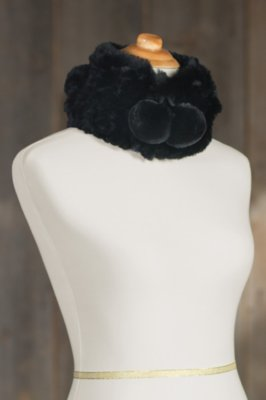Knitted Rex Rabbit Fur Convertible Beanie Hat and Neck Warmer