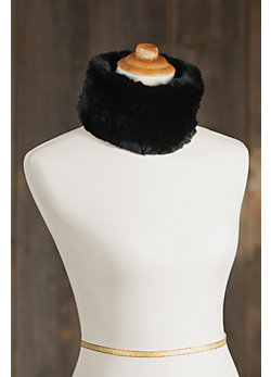 Knitted Rex Rabbit Fur Convertible Neck Warmer and Headband