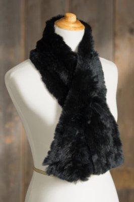 Knitted Rex Rabbit Fur Scarf