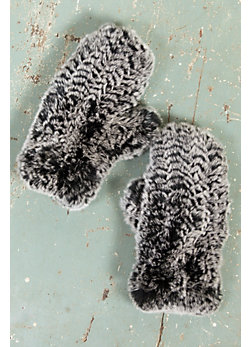 Knitted Rex Rabbit Fur Mittens