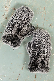 Women's Knitted Rex Rabbit Fur Mittens