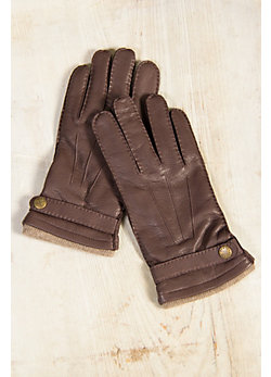 Men's Dents Casual Cashmere-Lined Deerskin Leather Gloves
