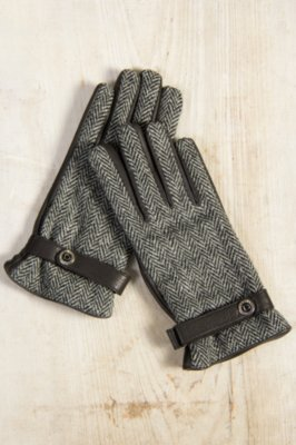 Men's Dents Dunmore Cashmere-Lined Deerskin Leather and Tweed Gloves