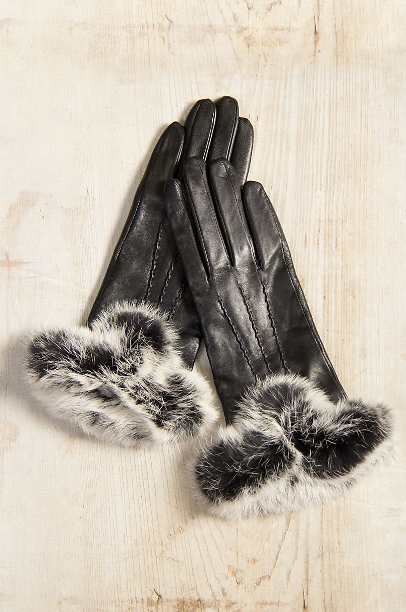 23f52393704fc Women s Dents Amelia Wool-Lined Leather Gloves with Rabbit Fur Trim ...