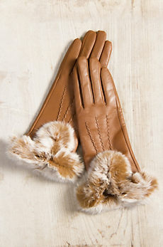 Women's Dents Amelia Wool-Lined Leather Gloves with Rabbit Fur Trim