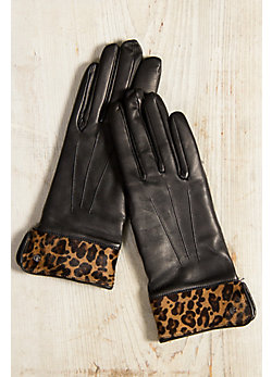 Women's Dents Hamilton Cashmere-Lined Lambskin Leather Gloves with Printed Fur Cuff