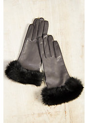 Women's Dents Glamis Silk-Lined Leather Gloves with Rabbit Fur Trim